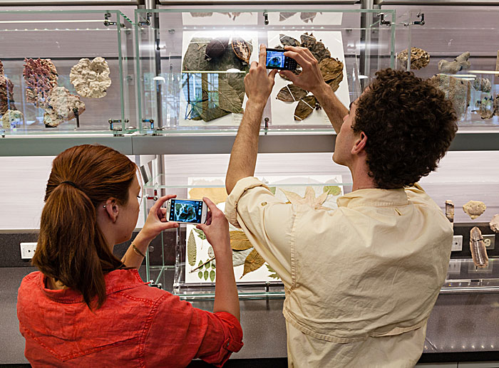 Museum visitors get up-close and personal with museum specimens in the National Museum of Natural History's new education center, Q?rius, in Washington, D.C. (Photo by James Di Loreto)