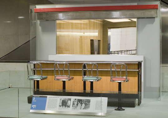 This section of the Woolworth's lunch counter with four stools is on the American History Museum's second floor.