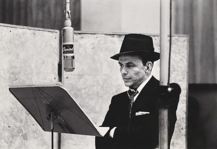 Frank SInatra in recording studio, 1956