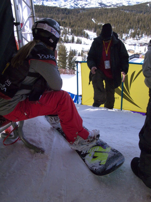 Hannah Teter waiting at the starting gate before her silver medal run on the halfpipe at the 2010 Vancouver Games. Image credit: Susie Flores.