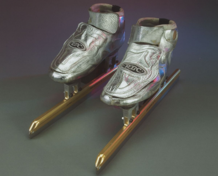 Apolo Anton Ohno's short track speed skates used in the 2002 Winter Olympic Games in Salt Lake City