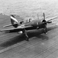 """The only known VB-92 Helldiver to be photographed up close, """"215"""" flown by Ensign Bob Sobey, illustrates the geometric symbol scheme of the squadron's early days on USS Lexington. This photograph and others served as the guide for the Museum's restoration project.(Photo courtesy of Robert L. Lawson Photograph Collection, National Naval Aviation Museum.)"""