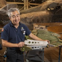 Museum specialist Will Lee fabricated this rudder rib using plans on file in the National Air and Space Museum's Archives. (Photo by Dane Penland)