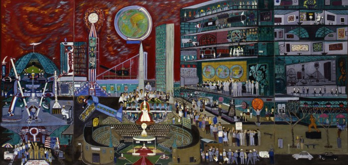 Ralph Fasanella, Modern Times, 1966, oil on canvas, Smithsonian American Art Museum, Gift of Maurice and Margo Cohen, Birmingham, MI. © 1966, Estate of Ralph Fasanella