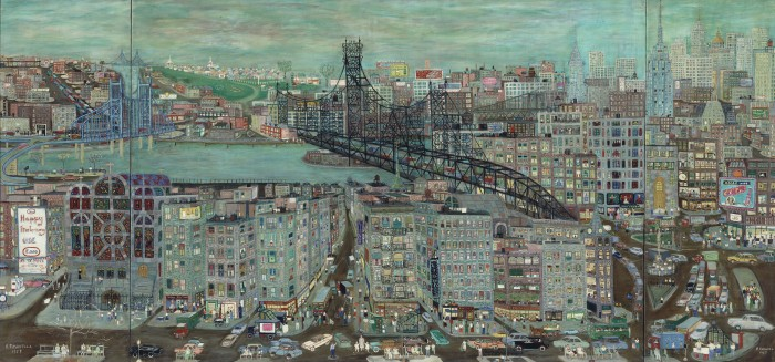 Ralph Fasanella, New York City, 1957, oil on canvas, Nicholas and Shelley Schorsch, image courtesy Estate of Ralph Fasanella. © 1957, Estate of Ralph Fasanella