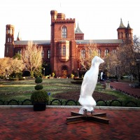 The Great auk awaits installation in the Enid A. Haupt Garden March 27. (Photo by Jessica Sadeq)