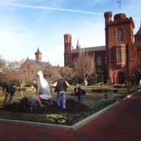The great auk is installed in the parterre of the Enid A. Haupt Garden March 27. (Photo by Jessica Sadeq)