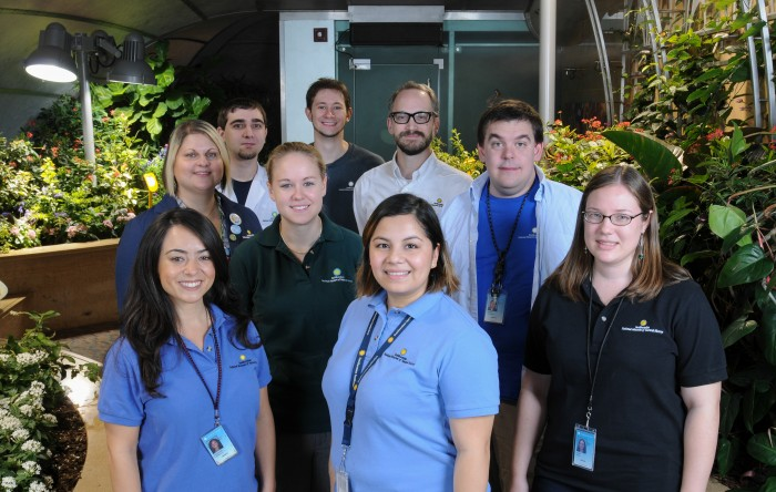 The staff of the Insect Zoo and Butterfly Pavilion: From left, front row, Lauren Tuzzolino, Rosa Pineda, Anne Jones. Middle row, Lisa Porter, Jessica Grant, , Dan Babbitt,  Eric Wenzel. Back row, Chris Mooney and Arthur Earle.