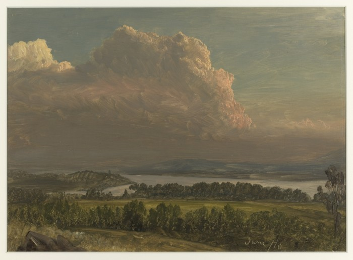 """Drawing, """"Sunset Across the Hudson Valley"""", June 1870, Frederic Edwin Church. Brush and oil paint, graphite on paperboard. Gift of Louis P. Church. 1917, Cooper Hewitt, Smithsonian's Design Museum."""