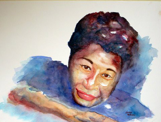 Watercolor portrait of Ella Fitzgerald by Sharon McGuire