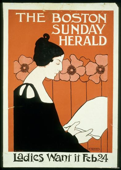 Boston Sunday Herald, Feb. 24, 1895, newspaper poster. The first poster designed by artist Ethel Reed.