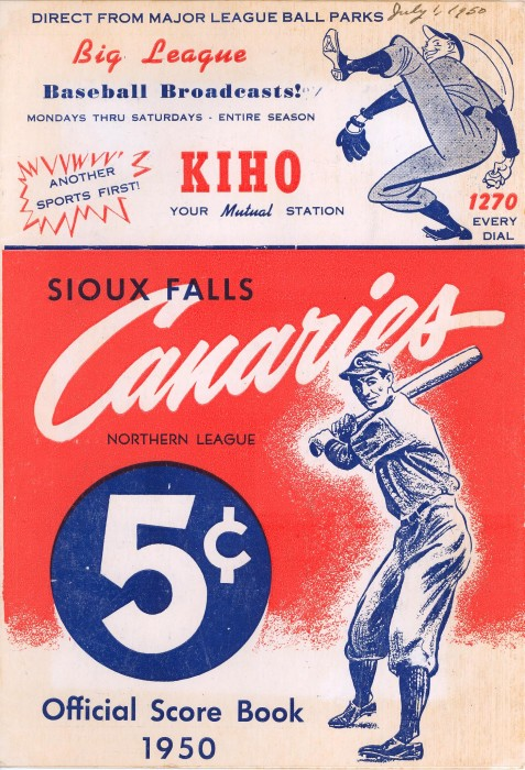 Sioux Falls Canaries Score Book, 1950. (Photo courtesy of the South Dakota Historical Society)