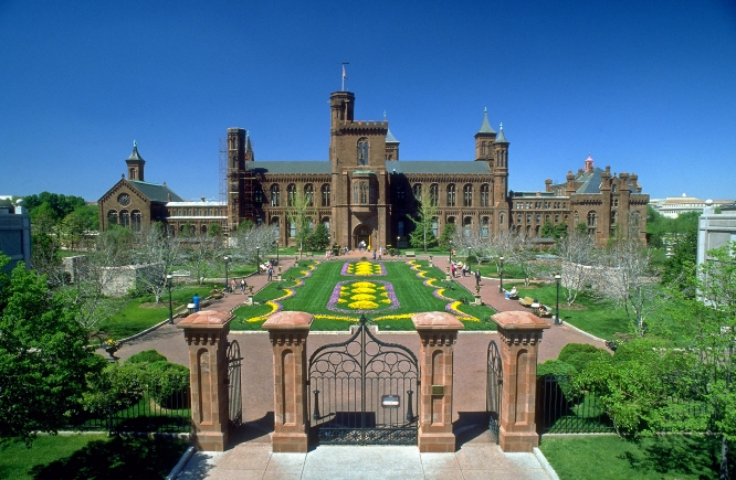 """The Enid A. Haupt Garden and the south facade of the Smithsonian Institution Building (the """"Castle) as seen from Independence Avenue."""
