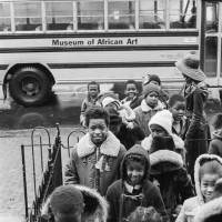 Schoolchildren visit the African Art Museum on Capitol Hill. (Eliot Elisofon Photographic Archives, National Museum of African Art, Smithsonian Institution)