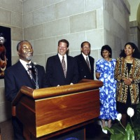 South African Deputy President Thabo Mbeki, makes brief comments at the U.S. - South Africa Binational Commission meeting reception July 1997. At his right are: U.S. Vice President Al Gore, South Africa Ambassador Franklin Sonn, Mrs. Sonn, and National Museum of African Art Director Rosyln Walker.