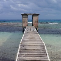 Outhouses on the end of the pier at Carrie Bow Cay Marine Station