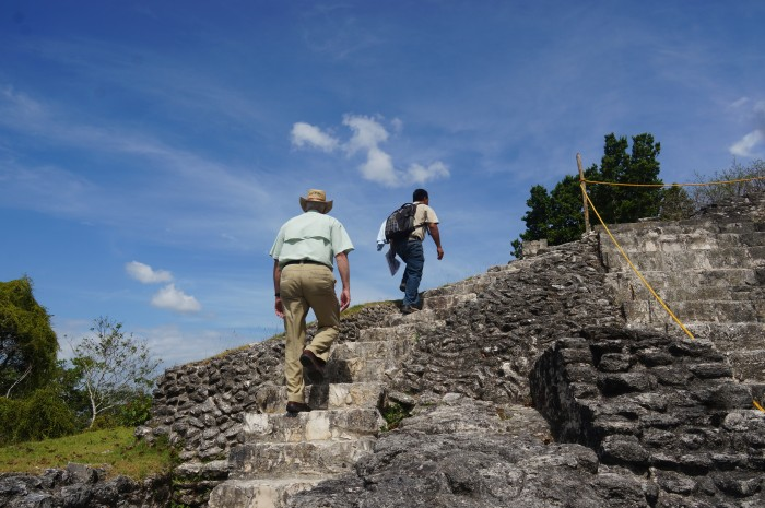 Many structures, including these steps, replaced earlier versions as generations of kings added their own contributions to Xunantunich. (Photo by John Gibbons)