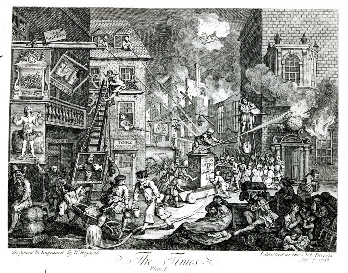 """""""The Times,"""" September 7, 1762, engraving by William Hogarth sets out to defend King George III and the ministry of the Earl of Bute. A fire, symbolic of war, has broken out in the background buildings. William Hogarth was an English painter and printmaker who poignantly commented on the English society of the eighteenth century with biting satire. Featured in the """"In the Minds and Hearts"""" exhibit of the National Portrait Gallery in 1974."""