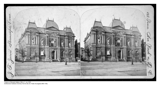 Exterior of the Renwick Gallery, home of the Smithsonian American Art Museum's craft and decorative art program in Washington, D.C., ca. 1875 from J. F. Jarvis Stereoscopic Views. (Smithsonian Institution Archives)