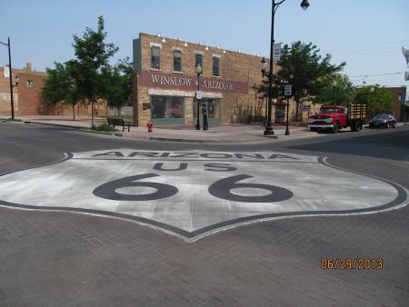 "Route 66 runs through Winslow, Arizona. This corner is a tribute to the Eagles song, ""Take it Easy."" The camera used included a date stamp. (Photo by Lynda Schmitz Fuhrig)"