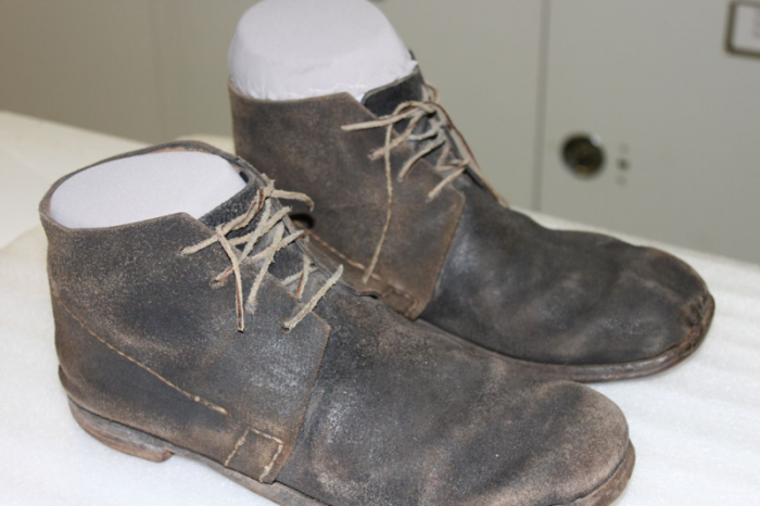 """The boots worn by actor Morgan Freeman in the film, """"Glory"""""""