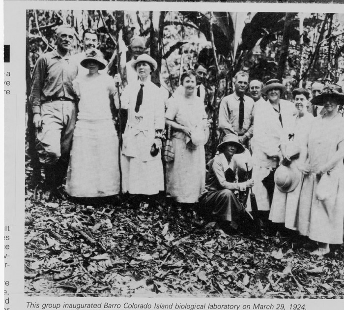 Barro Colorado Opening Day, March 29, 1924. At the inauguration of the Barro Colorado Island Biological Laboratory, this first group of scientists and guests visit the nature preserve and biological laboratory established on Barro Colorado Island.