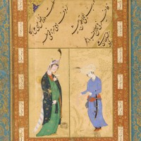 Album folio Signed by Sultan Ali Mashhadi Iran, Mashhad, or Afghanistan, Herat, Safavid period, ca. 1510–15 Paintings ascribed to Muhammad Sadiqi and Muhammad Qasim Iran, probably Qazvin, Safavid period, ca. 1590 Ink, opaque watercolor, and gold on paper