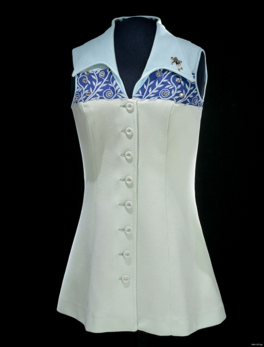 "Tennis dress worn by Bille Jean King during the ""Battle of the Sexes"" tennis match with Bobby Riggs."