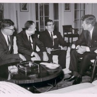 President John F. Kennedy meeting with National Congress of American Indians president Walter Wetzel, Sen. Lee Metcalf and Sen. Mike Mansfield, 1963. (Photo probably by Robert L. Knudsen / National Museum of the American Indian)