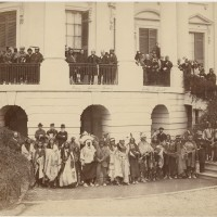 Delegation posing with President Andrew Johnson on the steps of the White House, 1867. Representatives of the Yankton, Santee, and Upper Missouri Sioux, Sac and Fox, Ojibwa, Ottawa, Kickapoo and Miami Nations. (Photo by Alexander Gardner)