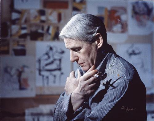 Artist Willem de Kooning in his studio, 1961. Photographer unknown