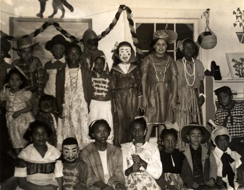1944 Halloween party at Frederick Douglass Community Center in Washington, D.C. Henry Bazemore Collection of Frederick Douglass Dwellings Photographs, Anacostia Community Museum Archives, Smithsonian Institution, gift of Henry Bazemore.