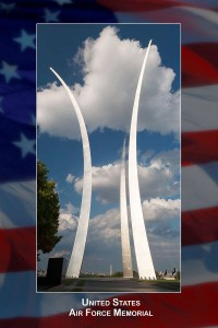 "Three stainless steel spires ranging in height between 201 feet and 270 feet evoke the image of the contrails from the Air Force Thunderbirds as they perform a precision ""bomb burst"" maneuver. The memorial was dedicated on October 14, 2006."