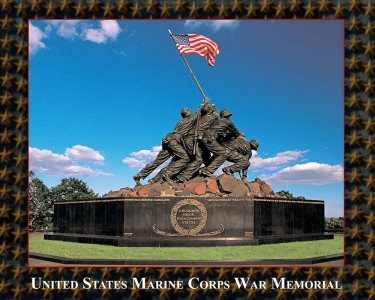 The U.S. Marine Corps War Memorial stands as a symbol of the nation's esteem for all Marines who have given their lives in the defense of the United States since 1775. Dedicated in 1954.