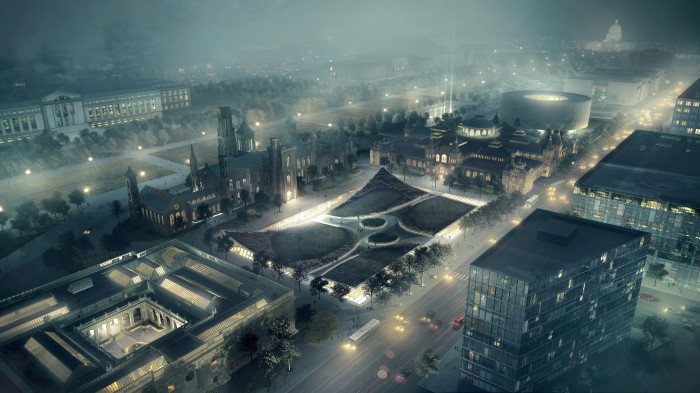 Artist's rendering of the reimagined South Mall Campus at night