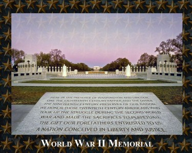 World War II Memorial: Commemorates the sacrifice and celebrates the victory of the WWII generation, representing both Atlantic and Pacific theaters. Dedicated May 29, 2004.