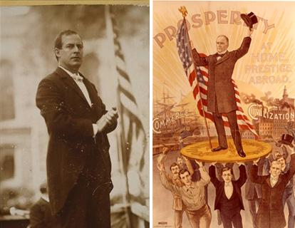 Left, William Jennings Bryan, October 3, 1896. Library of Congress. Right, William McKinley 1896 cartoon on a gold coin. Smithsonian collection.
