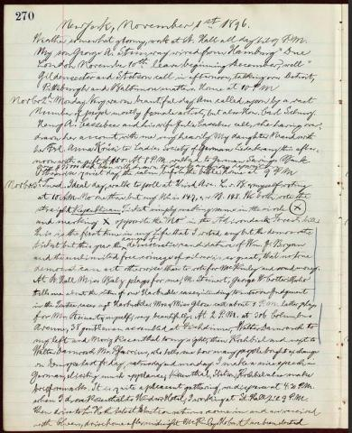 The page of Steinway's diary in which he explains his vote. The full transcription of the page is available.