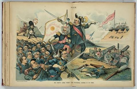 """""""No party lines when the national honor is in peril."""" Puck magazine July 22, 1896. Library of Congress collection. Print shows the combined forces of the gold standard supporters, including some newspaper editors, and a reluctant William McKinley. They are marching under the standard """"The Nation's Credit Must Be Upheld"""", toward a fort labeled """"Fort 16 to 1"""" flying the banner  """"Repudiation"""", and manned by soldiers armed with pitchforks and scythes. The newspaper editors are staffing the big guns labeled """"Sound Money Press""""."""