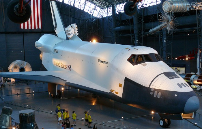 The Enterprise on display at the national Air and Space Museum's Steven F. Udvar-Hazy Center in 2007. (Photo by Ad Meskens)