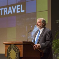 Richard Kurin, Under Secretary for History, Art, and Culture, describes the Secretary's peripatetic travels to the Smithsonian's far-flung outposts around the world. (Photo by Michael Barnes)