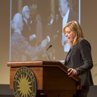 Karen Keller, director of the Office of Special Events and Protocol, describes the many star-studded events the Smithsonian has hosted during Dr. Clough's tenure. (Photo by Wayne Clough)