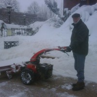 Wayne Clough, from Douglas, Georgia, operates a snowblower in the aftermath of Snowmageddon in 2010.