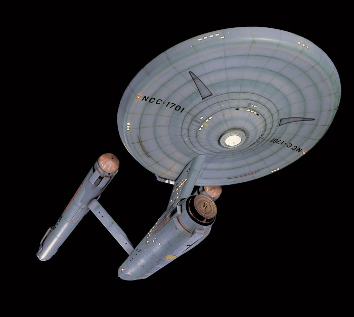 This 3.4 meter (11-foot) model of the fictional Starship Enterprise will go on display in the reimagined Boeing Milestones of Flight Hall. Star Trek pushed the boundaries of network television with its depiction of a mixed-sex, racially-integrated, multinational crew and its attention to contemporary social and political issues. It will join other significant artifacts in this gallery to showcase the importance of popular culture's influence on society. (Photo by Mark Avino)