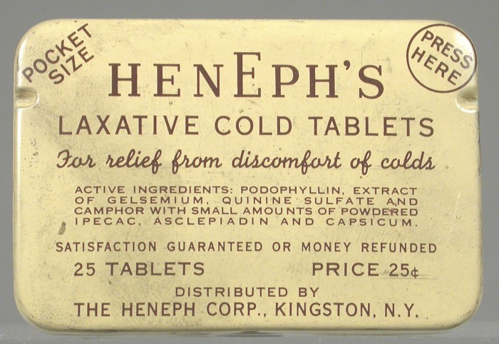 Henphe's Laxative cold tablets