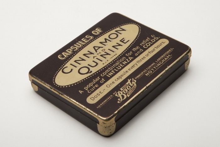 Patent medicine capsules of cinnamon and quinine