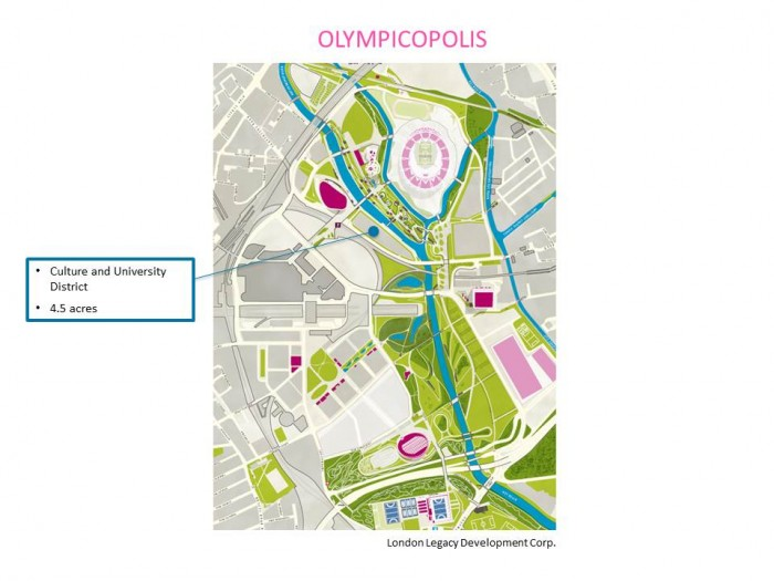 """Olympicopolis map caption/credit This map shows the triangular site (4.5 acres) for the culture and university district of """"Olympicopolis.""""    Image credit: London Legacy Development Corp. (LLDC)"""