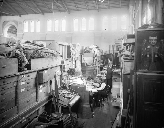 The workroom for for Indian ethnology located on the second floor, West Tower of the United States National Museum, now known as the the Arts and Industries Building, ca. 1890s. Via Smithsonian Institution Archives