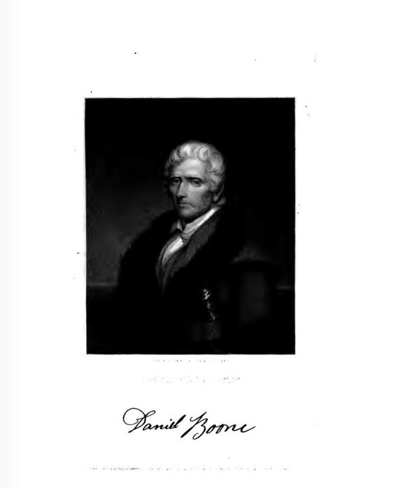 Portrait of Daniel Boone from The National Portrait Gallery of Distinguished Americans, by James Herring and James Barton Longacre, 1834. American Academy of the Fine Arts; Joseph Meredith Toner Collection (Library of Congress) DLC; Benjamin Franklin Collection (Library of Congress) DLC. Digitized by Google at https://archive.org/details/nationalportrai00herrgoog