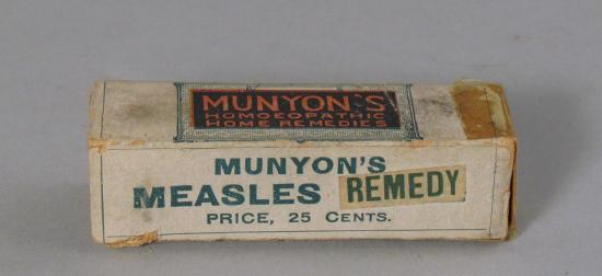 James Munyon founded the Munyon Homeopathic Home Remedy Company in the 1880s; he boasted that he could cure a range of illnesses including the measles. Even today, there is no cure for measles.